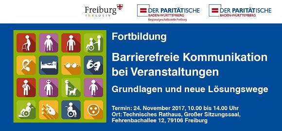 """""""Barrierefreie Kommunikation bei Veranstaltungen"""" am 24.11.2017 in Freiburg i.Br."""