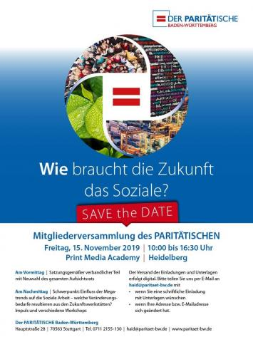 """SAVE the DATE - Mitgliederversammlung 2019 """"Wie braucht die Zukunft das Soziale"""" am 15.11.in Heidelberg"""