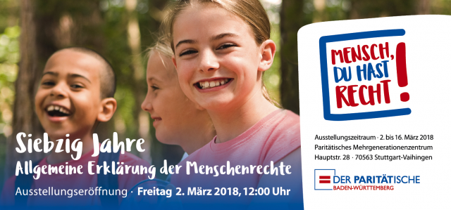 """Ausstellung """"Mensch, Du hast Recht!"""" vom 02. – 16.03.2018 in Stuttgart  - 70. Jahrestag der Verabschiedung der Allgemeinen Erklärung der Menschenrechte"""