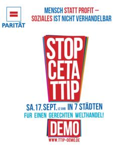 CETA & TTIP stoppen: Demo am 17.09.2016 in Stuttgart MENSCH STATT PROFIT: SOZIALES ist nicht verHANDELbar