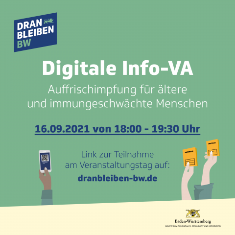 Einladung zur digitalen Info-VA: Auffrischimpfung für ältere und immungeschwächte Menschen, Do, 16.09.2021