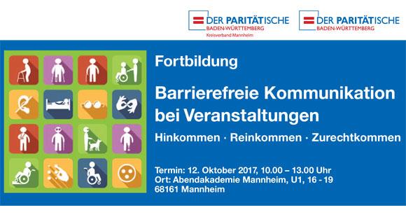 """""""Barrierefreie Kommunikation bei Veranstaltungen"""" am 12.10..2017 in Mannheim"""
